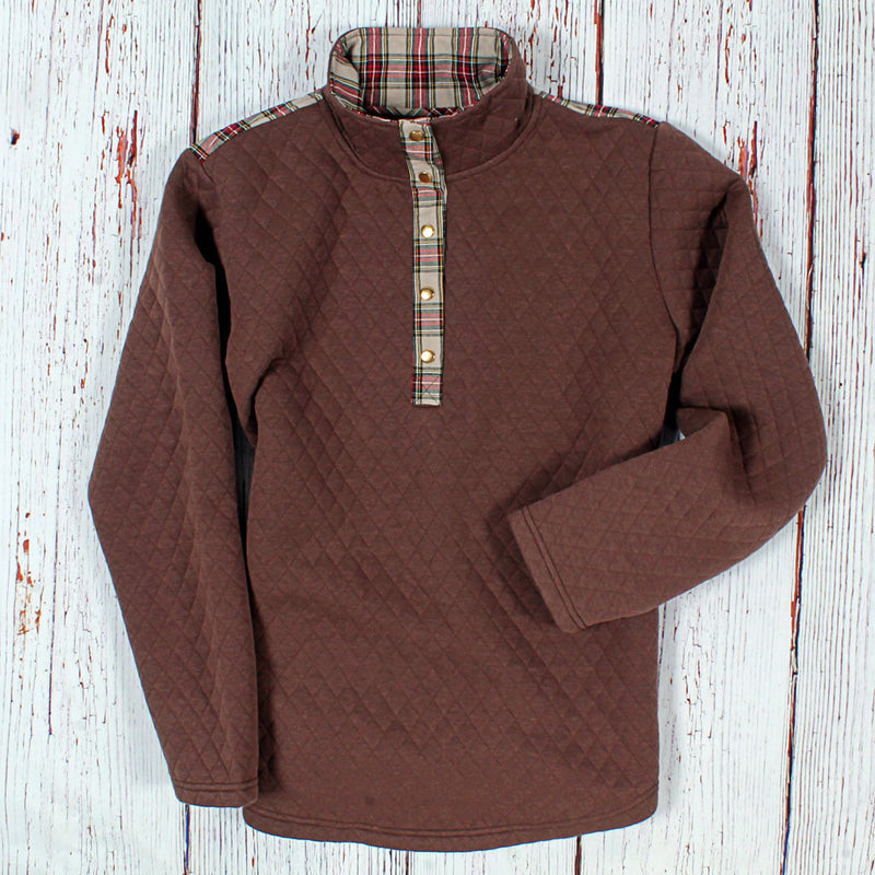 Bergen Quilted Patch Pullover - Nordic Fleece - The Sherpa Pullover Outlet