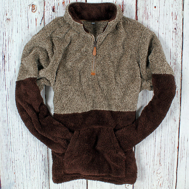Two-Toned Kangaroo Pullover - Nordic Fleece - The Sherpa Pullover Outlet