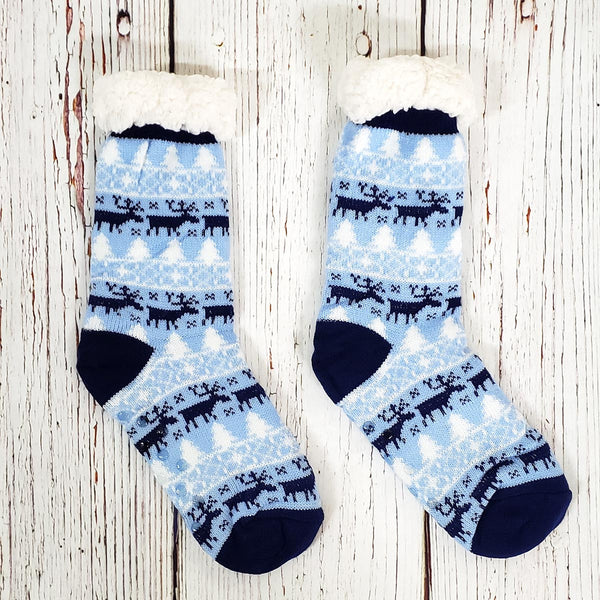 Roving Reindeer Sherpa Lined Socks - Nordic Fleece - The Sherpa Pullover Outlet