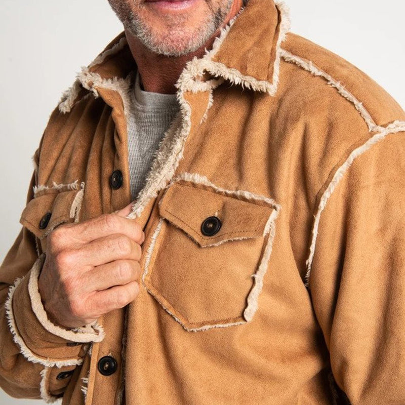Vintage Washed Sherpa Button Jacket - True Grit - The Sherpa Pullover Outlet
