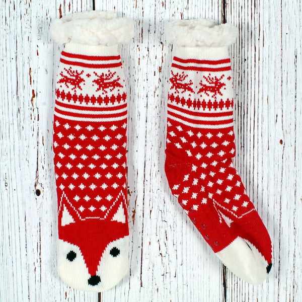 Nordic Fleece Todd the Fox Sherpa Lined Socks by Nordic Fleece