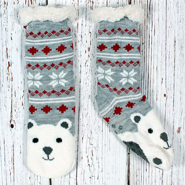 Fred the Polar Bear Sherpa Lined Socks - Nordic Fleece - The Sherpa Pullover Outlet
