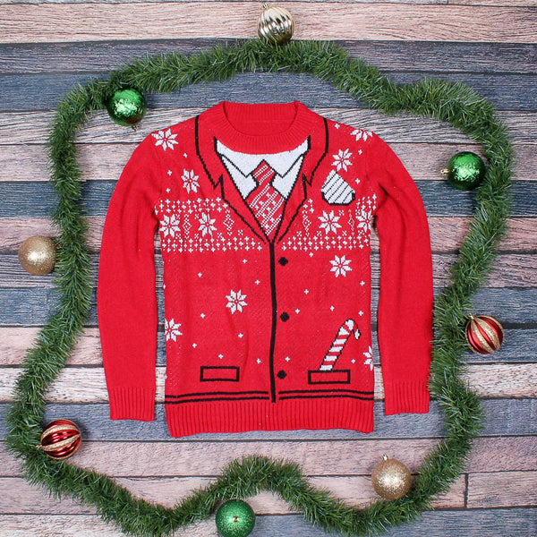 The Uncle Bing Christmas Suit Sweater - Preppy Elves - The Sherpa Pullover Outlet