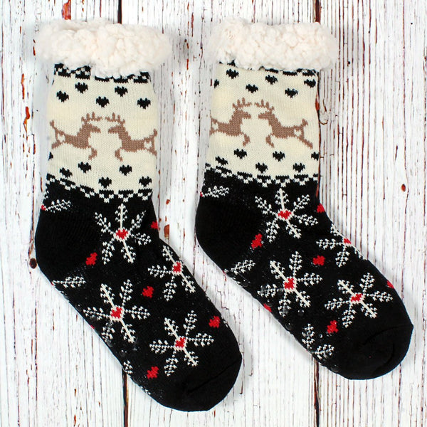 Dasher and Dancer Sherpa Lined Socks - Nordic Fleece - The Sherpa Pullover Outlet
