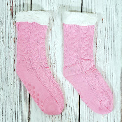 Cute Cable Knit Sherpa Lined Socks - Nordic Fleece - The Sherpa Pullover Outlet