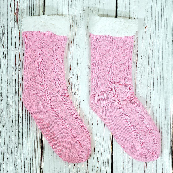 Cute Cable Knit Sherpa Lined Socks