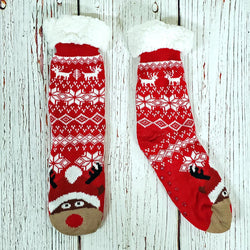Rowdy Rudolph Sherpa Lined Socks - Nordic Fleece - The Sherpa Pullover Outlet