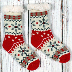 Christmas Sweater Sherpa Lined Socks - Nordic Fleece - The Sherpa Pullover Outlet