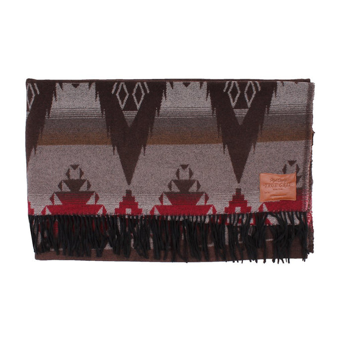 True Grit Symbols Fringe Blanket in Brown/Red