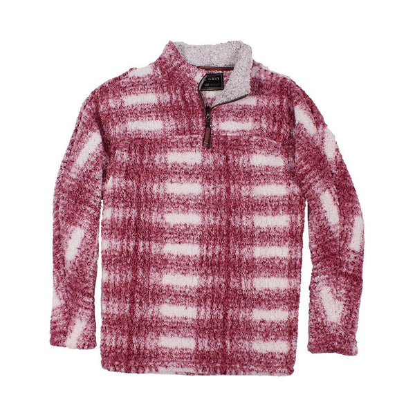 Frosty Tipped Big Plaid Pile Pullover - The Sherpa Pullover Company