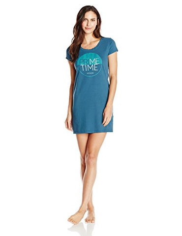 Life is good Women's Prime Time Sleep Shirt Dress (Pacific Blue), Small