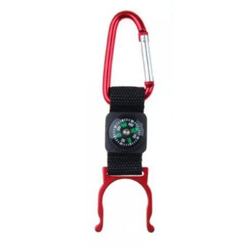 Red Carabiner Water Bottle Holder Camping Hiking with Compass