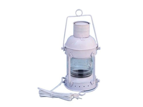 "Iron Anchor Electric Lantern 15"" - White - Electric Nautical Lantern - Beach Decor"