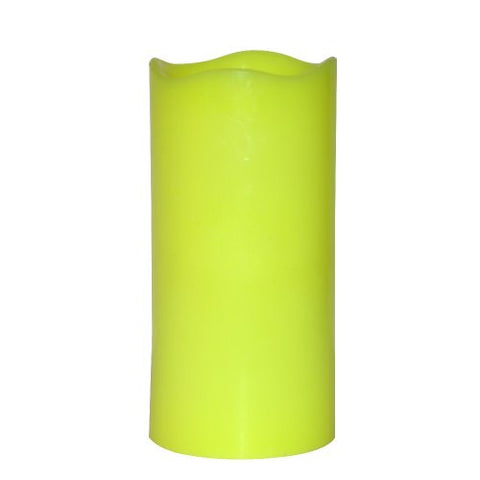 "Home Impressions Battery Operate Melted Flameless Pillar Candle with Timer, 3 x 6"", Green"