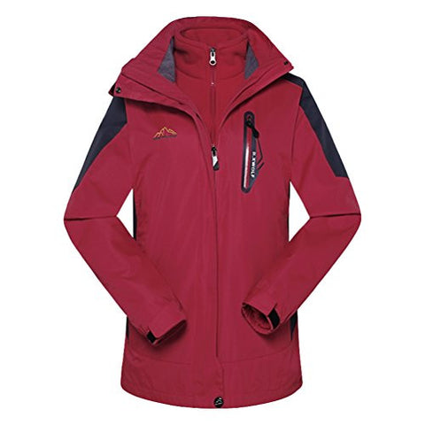 XiuFu Women's Winter Outdoorwear Windproof Waterproof Warm Fleece Hiking Mountain Ski Jacket