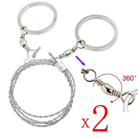 BoNaYuanDa Mini Stainless Steel Wire Saw for Survival Kits pack of 2(Silver)