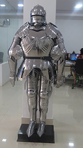 "68"" Gothic Full-Size Suit of Wearable Armor W/ Stand Late Medieval BY NAUTICALMART"