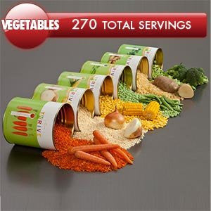 270 Total Servings of Vegetable Variety Pack Emergency Food Kit By Shelf Reliance® ThriveTM 30 Cents Per Serving Six #10 Cans