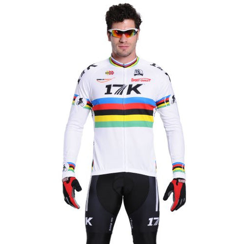 17K Men Cycling Jersey Pants Long Sleeve Shirt MTB Road Bicycle Riding Jersey White Size Large