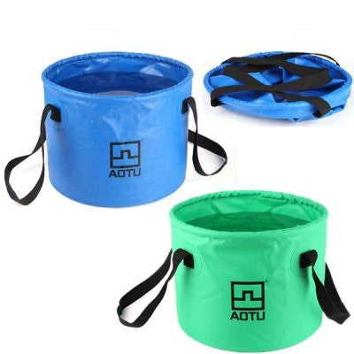 Multifunction Outdoor Portable Folding PVC Water Bucket - Blue / Green