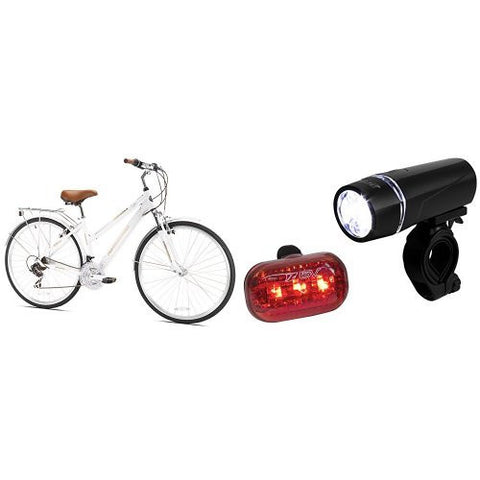 Northwoods Springdale Women's 21-Speed Hybrid Bicycle, 700c and BV Bicycle Light Set Super Bright 5 LED Headlight, 3 LED Taillight, Quick-Release Bundle