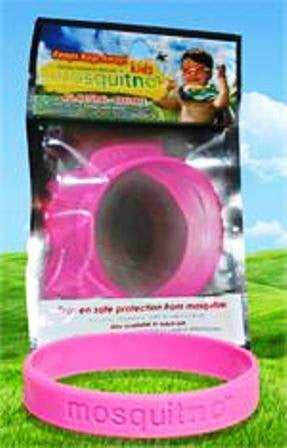All Natural - Deet Free Glow in the Dark Childs Mosquito Repellent Bands / Color Hot Pink