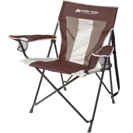 Ozark Trail Tension Camp Chair, Brown, Oversize Frame, 300 lbs. Weight Capacity, With 2 Cup Holders, Great for Camping and Outdoor Seating, QC1734