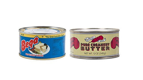 1 CAN of Processed Cheese BEGA and 1 CAN of Butter Red Feather Brand Product of New Zealand and Australia