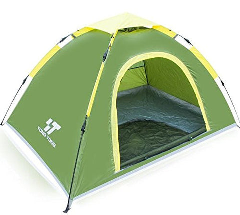 Yongtong 3-4 person 4 Season Outdoor Tents Automatic Pop Up Ultralight Tent 2 Doors 2 Vestibules Anti-UV Windproof Waterproof, for Camping, Hiking, Travel, Hunting (Bule)