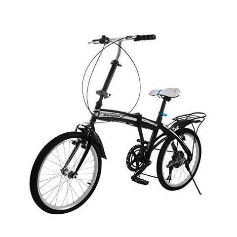 BestEquip Folding Bike 20 Inch 6 Speed Folding Bicycle Steel Frame Foldable Bike Suitable for Youngsters and Ladies