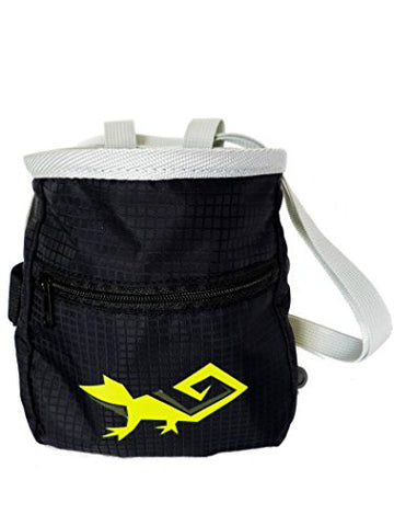 Lightweight Chalk Bag for Climbing, Weight Lifting, and Gymnastics - Includes Zippered Pocket, Belt, Oversized Belt Loops, Brush Holder, and Chameleon Logo