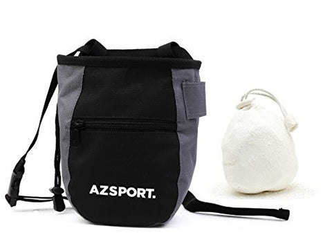AZSPORT Chalk Bag, Durable Gym Chalk Holder for Rock Climbing, Bouldering, Gymnastics and Weightlifting, Chalk Ball Included