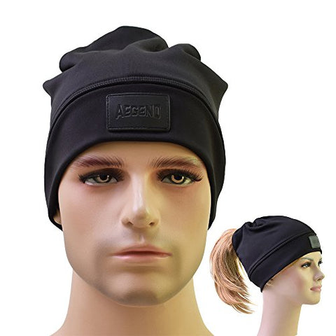 Running Beaine, Aegend Warm Soft Slouchy Beaine Ultimate Thermal Retention Skull Cap Daily Hat Stretch Ponytail Hat for Men Women Youth, Black, One Size