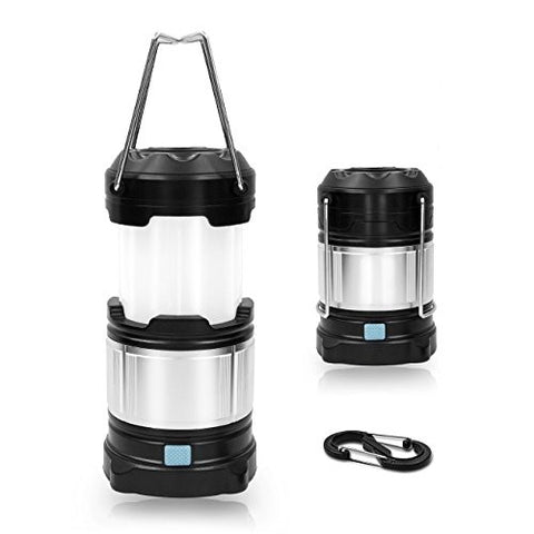 ROKKES LT02 LED Rechargeable Camping Lantern, Right Leds Emergency, Portable Collapsible Lighting Lamp, 18650 USB Power Bank Lantern with 3 AA Batteries (Black, Collapsbile)