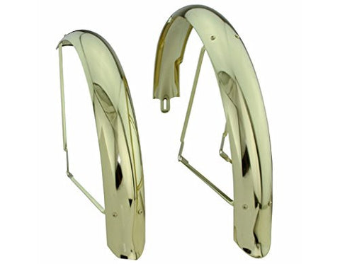 "26"" Flared Adjustable Balloon Fender Set Gold."