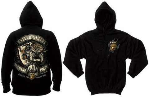 Rothco Black Ink Design USMC Bulldog Military Graphic Pullover Hoodie, Black, Large