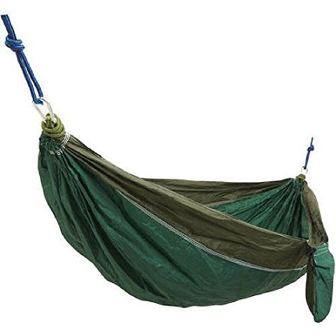 1-Person High-Thread-Count Parachute Hammock with Ropes and Carabiners, Green/Forest