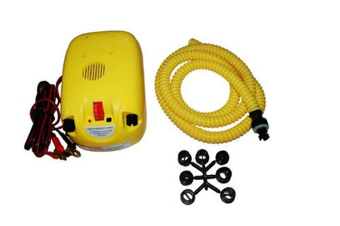 Aquos 12-Volt High Speed Electric Air pump for Inflatable Boats- Yellow
