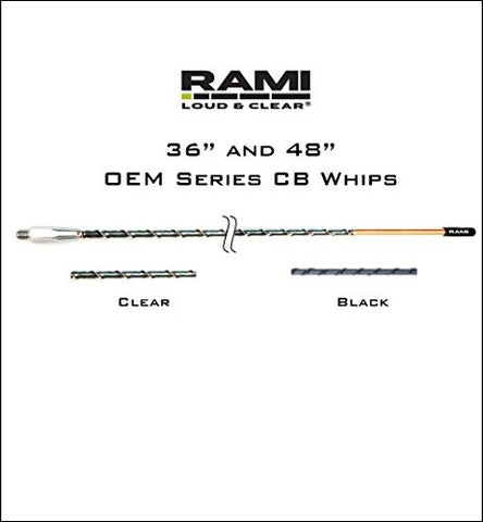 "CB Antenna 48"" Clear- MMAS3AA-48-1C RAMI OEM Series Specifically Tuned for Mack Trucks (All Models) and Sterling Trucks (All Models)"