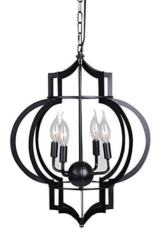 Utopia Alley Bella Laser Cut Metal Lantern Chandelier Lighting, 4 Bulb, Matte Black