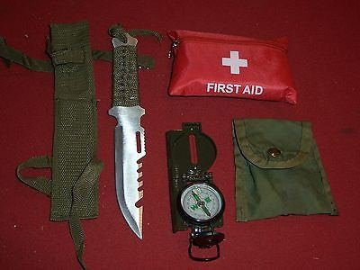 FIRST AID SURVIVAL GEAR COMPASS KNIFE FISHING HUNTING HIKING CAMPING MILITARY