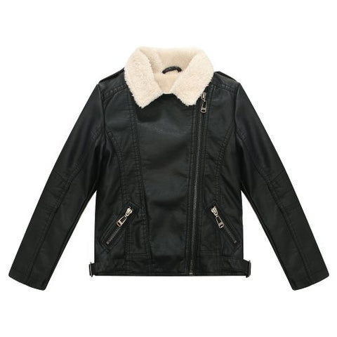 Richie House Big Boys' Faux Leather Coat with Short Fleece Inside RH1501