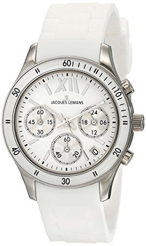 Jacques Lemans Women's 1-1587B Rome Sports Sport Analog Chronograph with Silicone Strap Watch