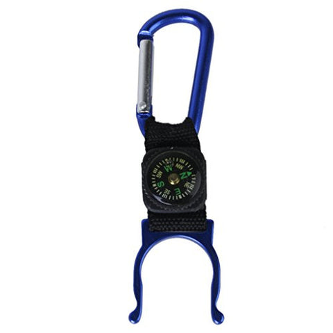 Blue Carabiner Water Bottle Holder Camping Hiking with Compass by Generic