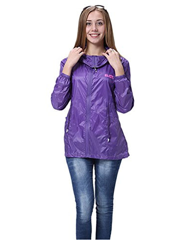 "Only Faith Women's Summer Ultra Thin Anti UV Long Sleeve Hooded Cardigan (XL(chest: 41.73""), purple)"