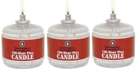 100 Hour Plus Emergency Candles, Clear Mist - SET OF 3 Long-Burning Survival Candles by Emergency Essentials