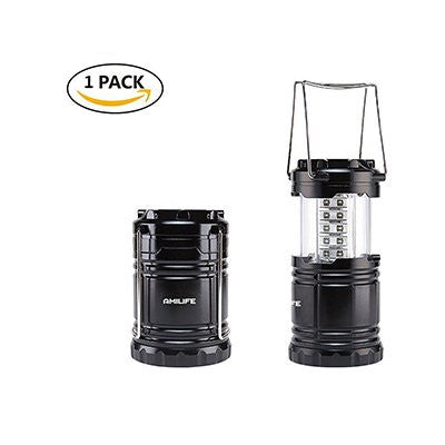 AmiLife, LED Collapsible Lantern Flashlight Lamp, Suitable for All Outdoors Activities- Camping,Hiking.Fishing,Emergency Tent Lamp(Black,Portable)