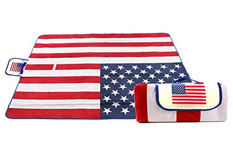 "Extra Large American National Flag Outdoor Blanket Foldable Mat Tote for Picnic, Beach, Traveling, Camping, Hiking, 51""×63""(130cm×160cm)"