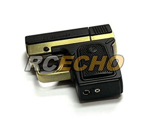 10 pcs x Aomai AM-073 King of Gun Piezo Jet Flame Gas Lighter (Black/Gold) L005C