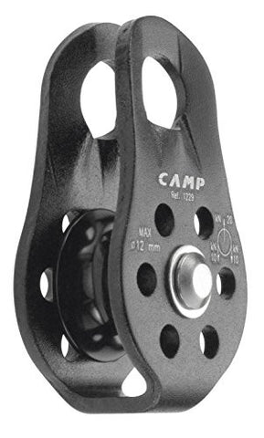 Camp Small Fixed Pulley with Brass Brushing - Black